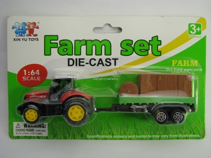 Farm set Traktor s vlekem a slámou 1:64 Xin You Toys